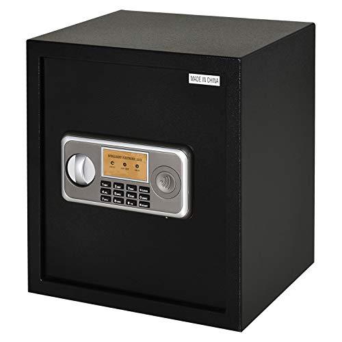 HOMCOM Caja Fuerte Electrónica Sólida Caja de Seguridad con Llave 2 Códigos para Casa Oficina Capacidad de 32 L Acero 35x30x39,3 cm Negro