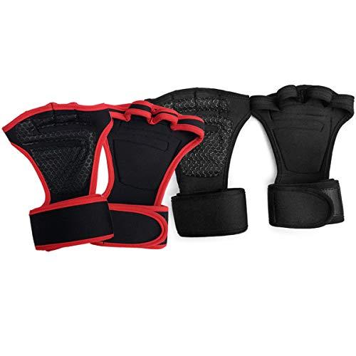 Xumier 4pcs Fitness fingerloser Handgelenkschutz Handschuhe gelenkschutz Einstellung der Elastizität Trainingshandschuhe mit Handgelenkstütze und Palm Schutz für Hanteln Klimmzüge und Gewichtheben