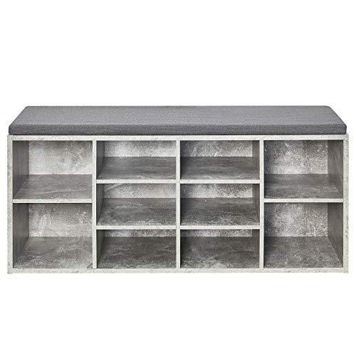 Meerveil Schuhbank, Schuhschrank mit Sitzkissen aus E1 Holzspanplatte Flur Diele Schuhregal 104 x 45 x 30 cm (Grau)