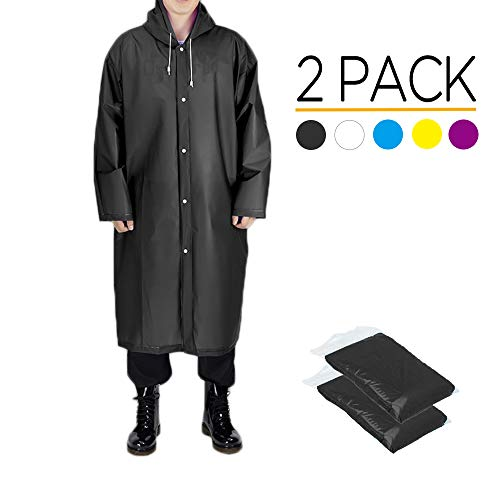 Opret Disposable Rain Ponchos Emergency Waterproof Ponchos Durable Transparent Lightweight Raincoat with Hood Pack of 5