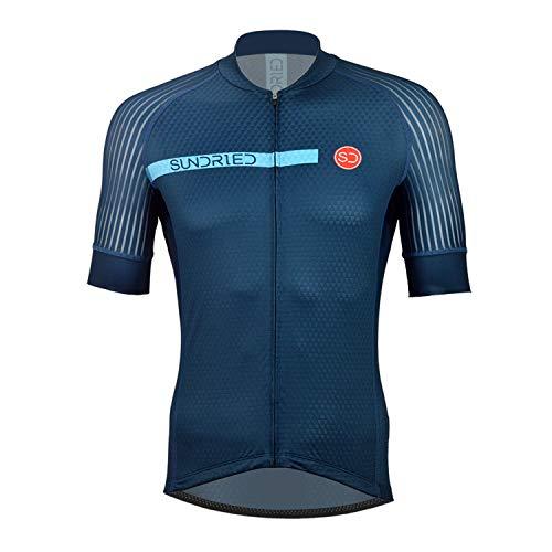 Sundried Mens Pro Manches Courtes Maillot Cyclisme vélo Shirt vêtements de Cyclisme pour vélo de Route VTT (Bleu, L)