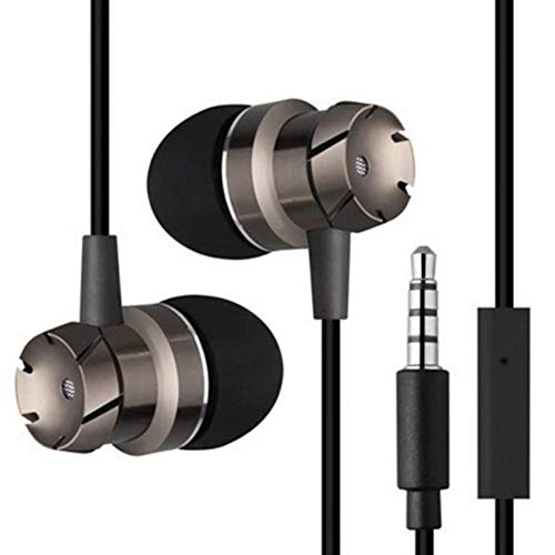 Headphones with Microphone, Ear Buds in Ear Wired Metal Earphones Mic Compatible with Mp3 Players Tablet Laptop and Other Cellphones 3.5mm - Black