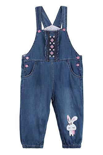 bebé Bambina Jeans Salopette in Morbido Cotone Denim Pantaloni Pagliaccetto per Primavera Estate Motivo Ricami e Coniglietti Taglia 68-74