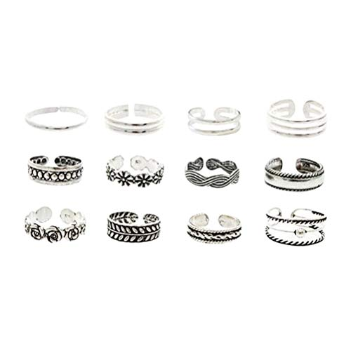 Fenical 12PCS Unisex Foot Rings Moda Folk-Custom Lega di placcatura Geometrica Seaside Toe Joint Rings Set Opening Rings (Argento)
