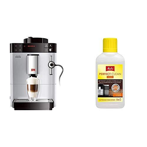 Melitta Caffeo Passione F530-101, Kaffeevollautomat mit Auto-Cappuccinatore-System, Silber & 202034 Perfect Clean Milchsystem Reiniger | Entfernt einfach und gründlich Milchablagelagerungen | 250 ml