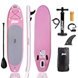 UBOWAY Inflatable Stand Up Paddle Board 6 inch Thick iSUP with Adjustable Paddle, Backpack, Pump, Elastic Rope, Fin, Repair Kit 10 ft Long 30 inch Wide (10' Pink)