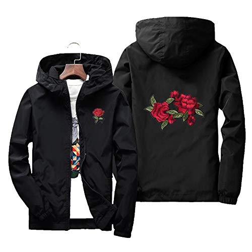 Allywit Men's Two Rose Print Outdoor Windproof Hoodie Zip-up Lightweight Windbreaker Plus Size