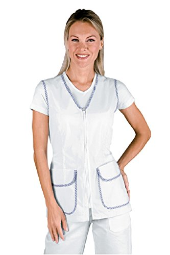 Robinson Damen Kasack Tichuan weiß/blau-gestreift XXL