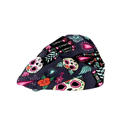ASIGA Gorra de trabajo para mujer con banda de algodón ajustable y elástico, para cabeza de gato, calavera y flora, para hombres