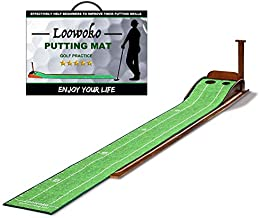 Wood Golf Putting Green Mat with Auto Ball Return System Mini Golf Game Practice Equipment and Golf Gifts for Men (Golf-03)