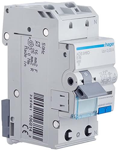 Hager ADS916D Fehlerstrom-LS-Schalter B, 2-Polig 1-Polig geschützt, 16A, 30mA
