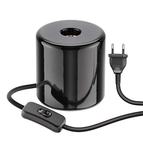 ledscom.de Tischlampe TIPO mit E27 Lampen-Fassung Porzellan rund schwarz