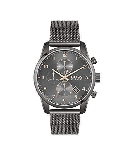 HUGO Reloj de cuarzo para hombre con correa de acero inoxidable, gris, 22 (Modelo: 1513837)