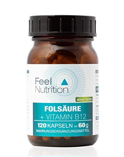 Folsäure+Vitamin B12 Aktiv - IM GLAS, OHNE WEICHMACHER - 800µg Folat als 5-MTHF Quatrefolic® und 140µg Vitamin B12 als Methylcobalamin - OHNE Magnesiumstearat - vegan & hochdosiert - 120 Kapseln