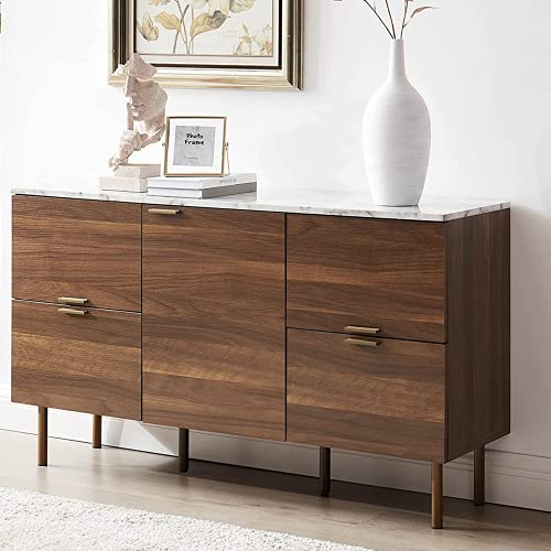 """GOOD & GRACIOUS Sideboard Cabinet, Mid Century Modern Console Storage Buffet Credenza Cabinet, Faux Marble Top with 4 Drawers and 1 Door for Living Room, Kitchen, Dining Room or Entryway, 48"""", Walnut"""