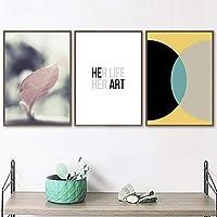ウォールアートウォールアートキャンバス絵画小さな葉半円形の幾何学北欧のポスターとプリントリビングルームの壁の写真50x70cmx3フレームなし