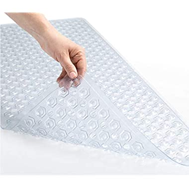 GORILLA GRIP Original Bath, Shower, and Tub Mat (35x16), Machine Washable, Antibacterial, BPA, Latex, Phthalate Free, XL Size Bathroom Mats, Highest Quality Materials (Clear)