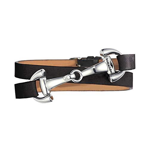 DIMACCI Trensen-Armband Kalbsleder | Favorit Kollektion in Schwarz Silber-Optik aus Edelstahl | Schmuck für Reiter-Frauen in Geschenk-Box | Mit Gravur