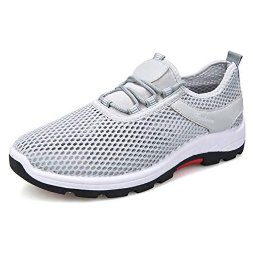 LFEU Homme Chaussure Multisport Outdoor pour Courir Marcher Pied Sneaker Chaussure d'escalade de Toile Respirant Résistant à l'usure Gris 42