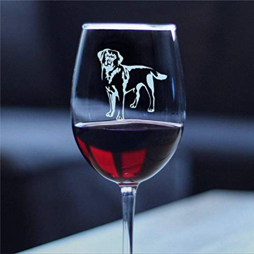 Labrador Retriever Wine Glass with Stem Glass for White Or Red Wine Cute present for Dog Lovers with Black Labs Personalized Durable Laser Engraved Hand Blown Wine Glasses
