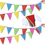 40 metros 80 Banderines Triangulares Bunting Banner Banners Multicolores para bodas Fiestas de Cumpleaños Jardín Marca Apertura Decoraciones para el hogar