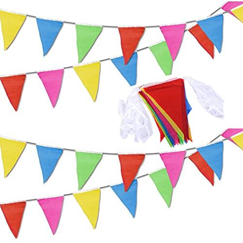 Pubiao Girlanden 40 Meter 80 Dreieck Flaggen Ammer Banner Mehrfarbige Banner für Hochzeit Geburtstagsfeier Garten Marke Eröffnung Home Dekorationen