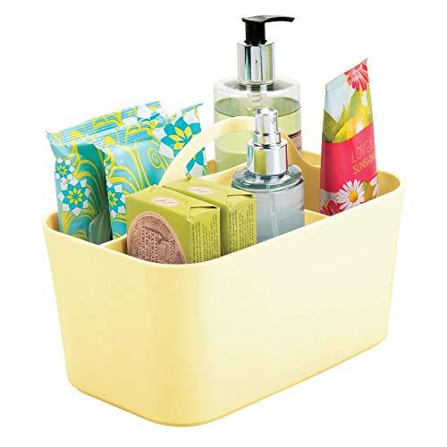 mDesign Cesta organizadora con asa – Organizador de baño con Cuatro divisiones para jabón, lociones, champú y más – Práctica Caja con Compartimentos para baño de plástico Resistente – Amarillo Claro