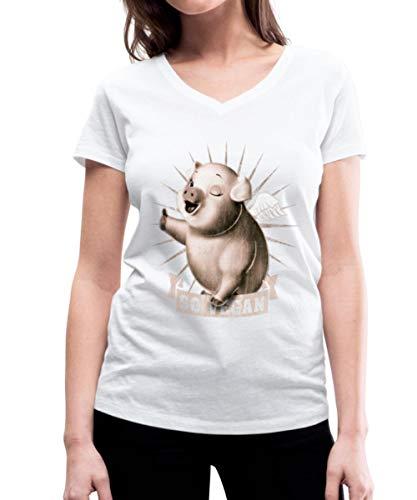 Go Vegan Frauen Bio-T-Shirt mit V-Ausschnitt, M, Weiß
