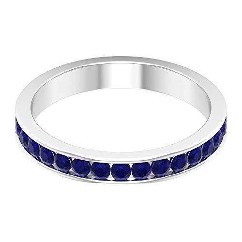 Rosec Jewels 14 quilates oro blanco redonda Blue Zafiro azul creado en laboratorio.