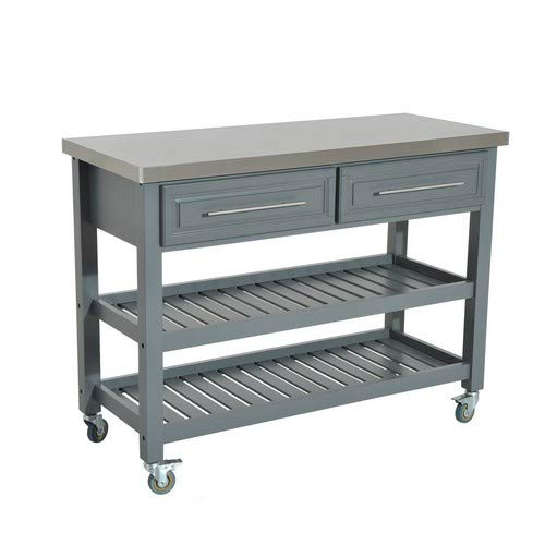 """HOMCOM 47"""" 3 Tier Grey Rolling Kitchen Cart with Stainless Steel Top, Shelves, Drawers"""