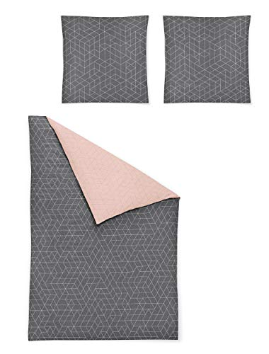 Irisette Biber Bettwäsche 135x200 2tlg grau rosa | Bettwäsche-Set aus 100{fb2a5b21d5de5441679621001c6bc7efd20845689d01635fcbf99c81221b7691} Baumwolle | 2 teilige Wende-Bettwäsche 135x200 cm & Kissen 80x80 cm | Geometrisches Muster