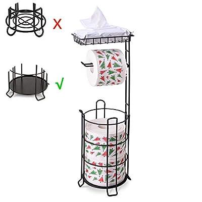 Toilet Paper Holder Stand Upgrade Free Standing Bathroom Toilet Tissue Holders with Top Shelf Storage 3 Mega Rolls Black