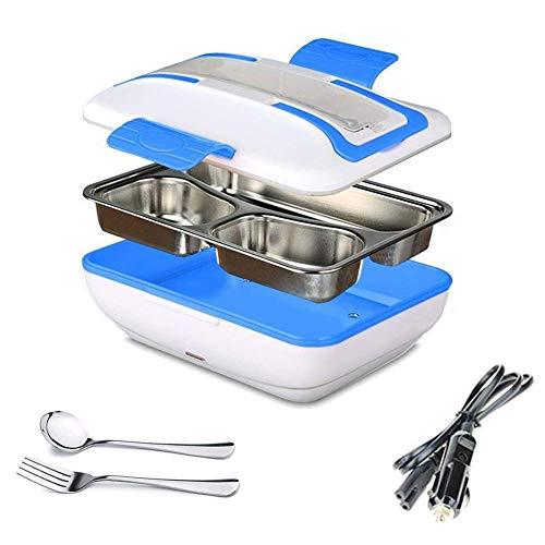 LG&S Scaldavivande 12V Portatile con Riscaldamento Elettrico Portatile per Alimenti Riscaldatore per Auto Bento con Contenitore/Forchetta/Cucchiaio in Acciaio Inossidabile Staccabile,Blu