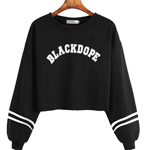 Amlaiworld Sweatshirts Mode Stripe Blackdope Buchstabe Drucken Kurz Langarmshirts Damen Bauchfrei Komfortabel Locker Sweatshirts Winter Herbst Sport Pullover für M?dchen (XXL, Schwarz)