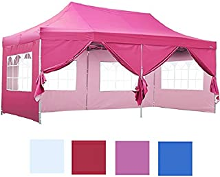 Leisurelife Outdoor Pop Up 10'x20' Wedding Tent with 6 Sidewalls - Pink Folding Commercial Gazebo Canopy Tent with Wheeled Carry Bag