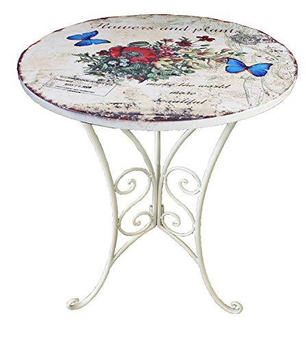 Unbekannt VARILANDO Deko-Beistelltisch mit floralem Muster und Antik-Finish Metall-Tisch Deko-Tisch...