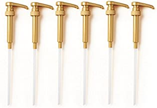 Premium Gold Torani, Davinci & Jordan Syrup Pumps Set Of 6 | Fits 750ml Bottles | Ideal For Coffee Syrups, Snow Cones, Flavorings & More | No Clogging, Spilling & Dripping Fixed Angle Pump