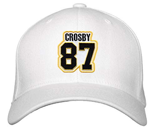 Sidney Crosby Hat - Pittsburgh Hockey Jersey Number Cap (White)