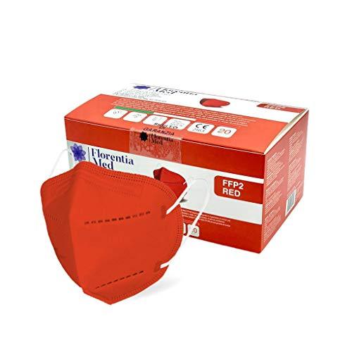 Florentia Med Máscaras FFP2 ROJAS MADE IN ITALY Certificación CE Categoría EPI: III, conforme a EN 149: 2001 + A1: 2009. Caja de 20 piezas Empaquetada y sellada individualmente