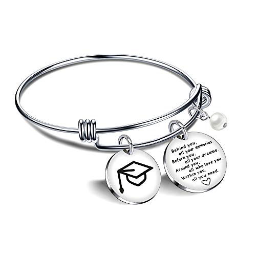 "Angelra Regali di Laurea Bracciale da Donna""Behind You all your Memories"" Ciondolo con Incisione Regolabile Braccialetto"