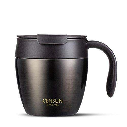 zdzdz 320ml Edelstahl Kaffee Becher Vakuum Isoliert Kaffee Tasse mit Deckel für Home Office Küche Schwarz