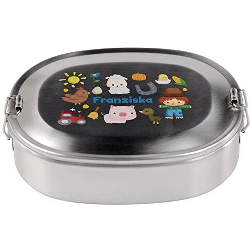 Brotdose für den Kindergarten (Bauernhof, klein): Edelstahldose mit eigenem Name und Tiermotiv - Mato Vesperdose für Jungen und Mädchen, Frühstücksbox aus Metall, nachhaltig und individuell