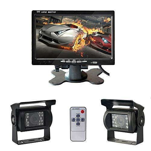 RV Rückfahrkamerasystem Festverdrahtetes Auto Rückfahrkamera Kit mit Zwei IR Super Nachtsichtgeräten, 7 Zoll HD Vollfarbdisplay Monitorset,Rückfahrkamera für Wohnmobil/Bus/Anhänger/LKW