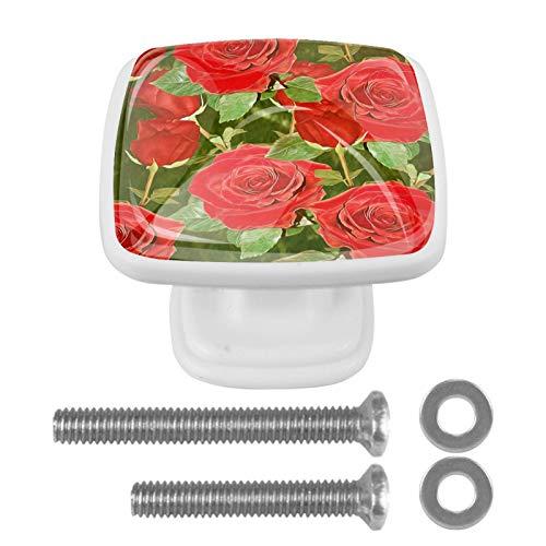 YATELI Hermoso Floral (2) Perillas de extracción de para gabinetes, armarios, Puertas y cajones de Muebles: se Venden como un Paquete de 4 perillas