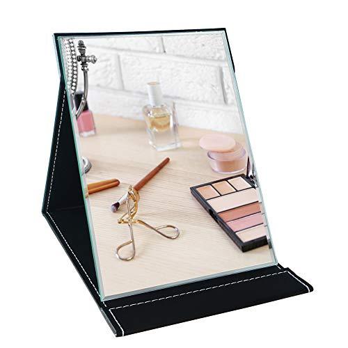 Umi.Essentials Klappspiegel mit Kunstleder Schminkspiegel Reisespiegel und Tischspiegel 17.02x23.62 cm/Schwarz