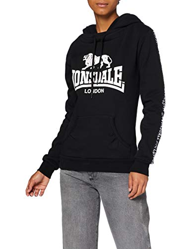 Lonsdale Sleeve Sudadera con Capucha, Negro, M para Mujer
