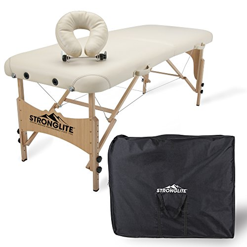 """STRONGLITE Portable Massage Table Package Shasta - All-In-One Treatment Table w/ Adjustable Face Cradle, Pillow & Carrying Case (28""""x73"""")"""