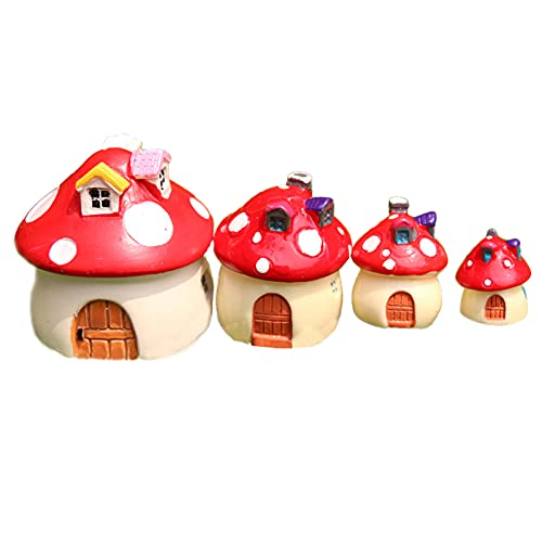 Mini Decorazione Della Casa Dei Funghi Resina Fungo Casa Decorazione Del Desktop Fungo Casa A Mano Casa Delle Bambole Ornamento Statue Da Giardino Casa A Fungo Rossa Per Paesaggio Del Vaso Di Fiori