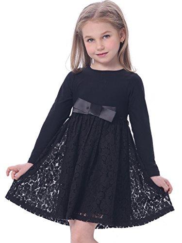 BONNY BILLY Mädchen Kleider Winter Langarm Baumwolle Spitzenkleid Freizeitkleid mit Schleife 5-6...