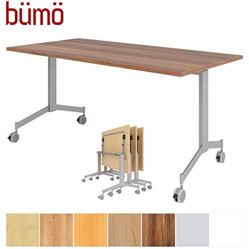 bümö Klapptisch fahrbar 160 x 80 cm - mobiler Konferenztisch klappbar & rollbar | Meetingtisch massiv mit Rollen (Zwetschge)